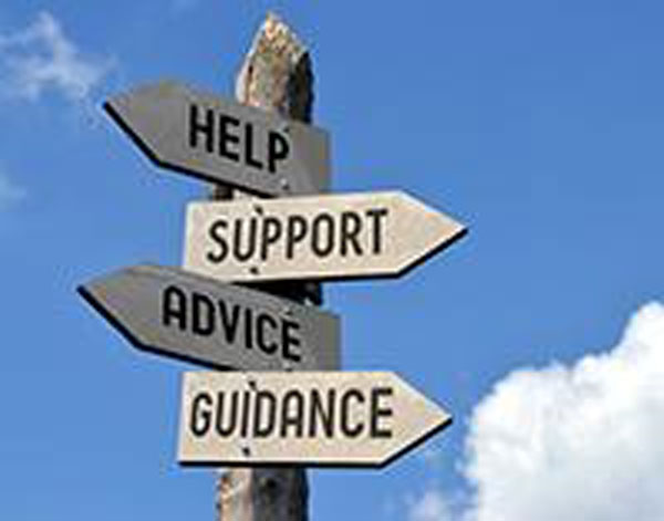 Help Support Advice Guidance sign
